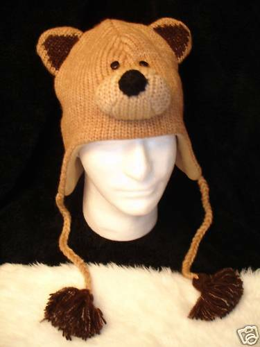 delux brown bear hat knit flc lined cub mens womens animal. Black Bedroom Furniture Sets. Home Design Ideas
