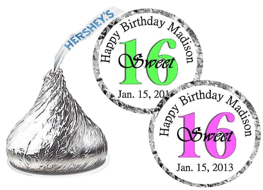 324 sweet 16 birthday party favors hershey kiss kisses for Free hershey kisses labels template