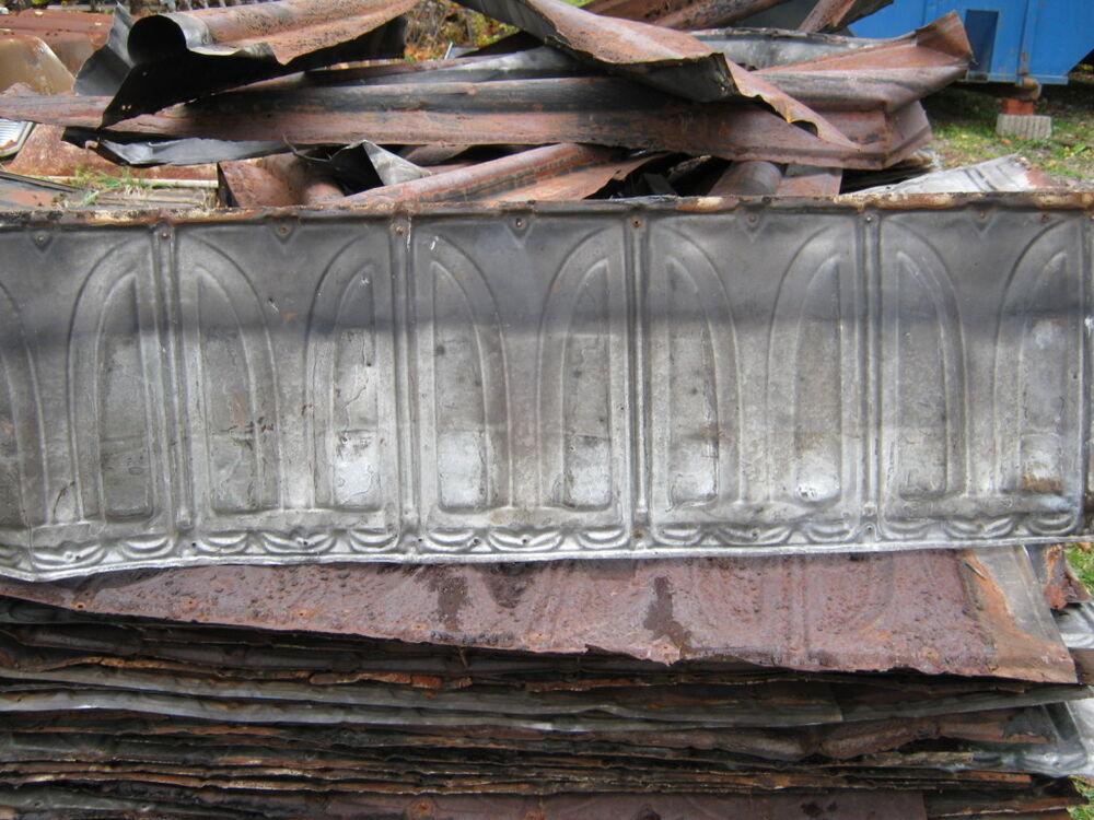 3 Antique Decorative Tin Metal Roof Panels Tiles Crafts 1032 12 EBay