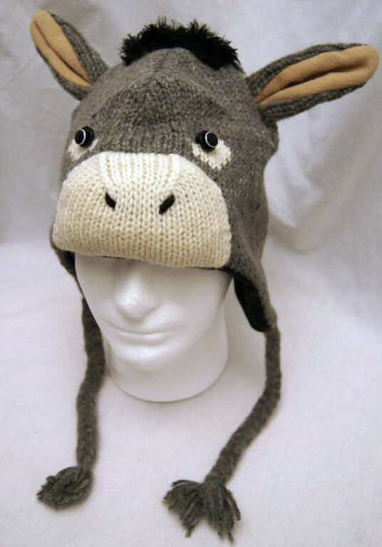 Knitting Pattern For Donkey Hat : ADULT DONKEY HAT mule animal ski cap costume KNIT eeyore ...
