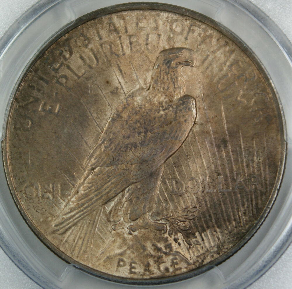 1923 Peace Silver Dollar Coin Pcgs Ms 63 Toned Ebay
