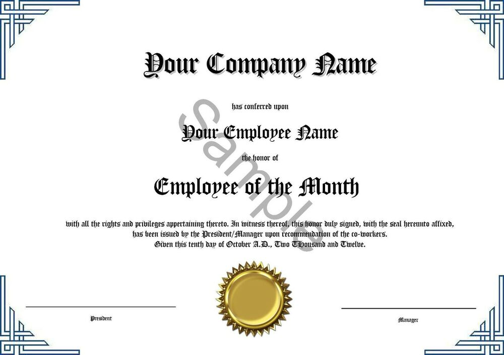 Employee of the month certificate novelty diploma ebay for Employee of the month certificate template with picture