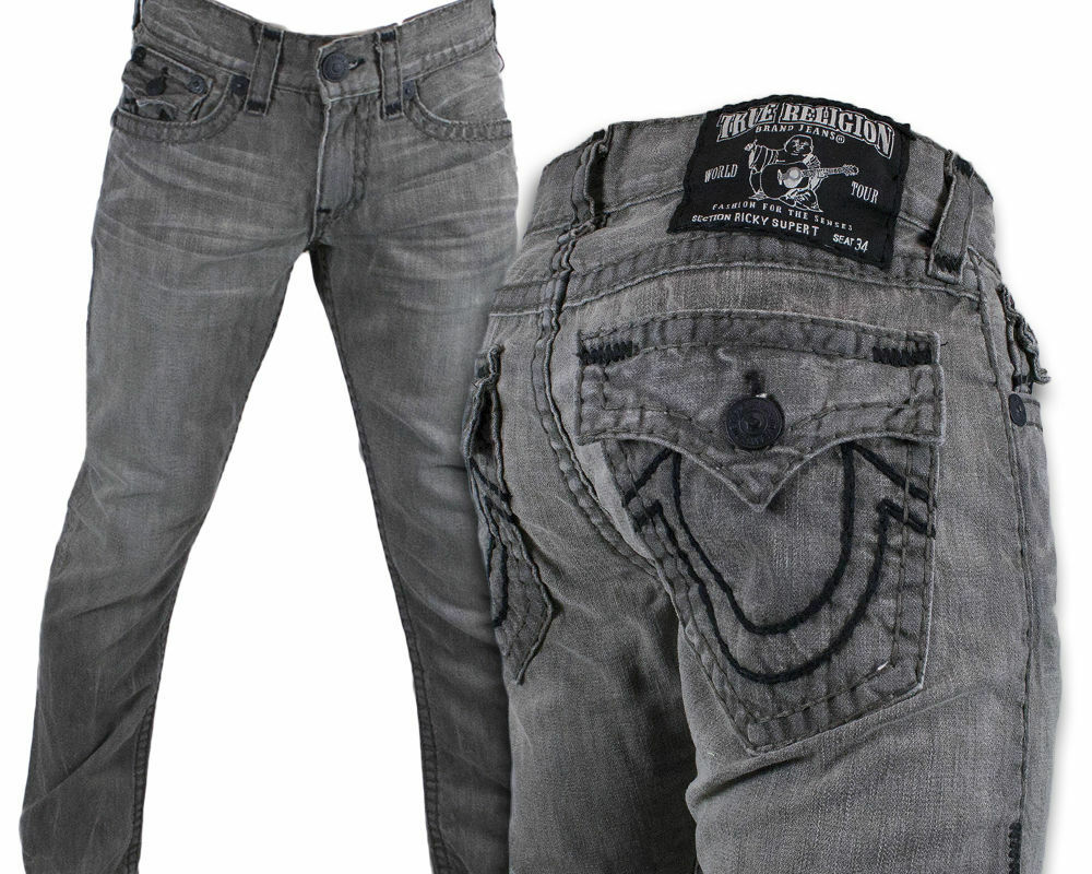 TRUE RELIGION M9FB063NQ9 - Men from Brother2Brother UK |True Religion Jeans White With Black Stitching