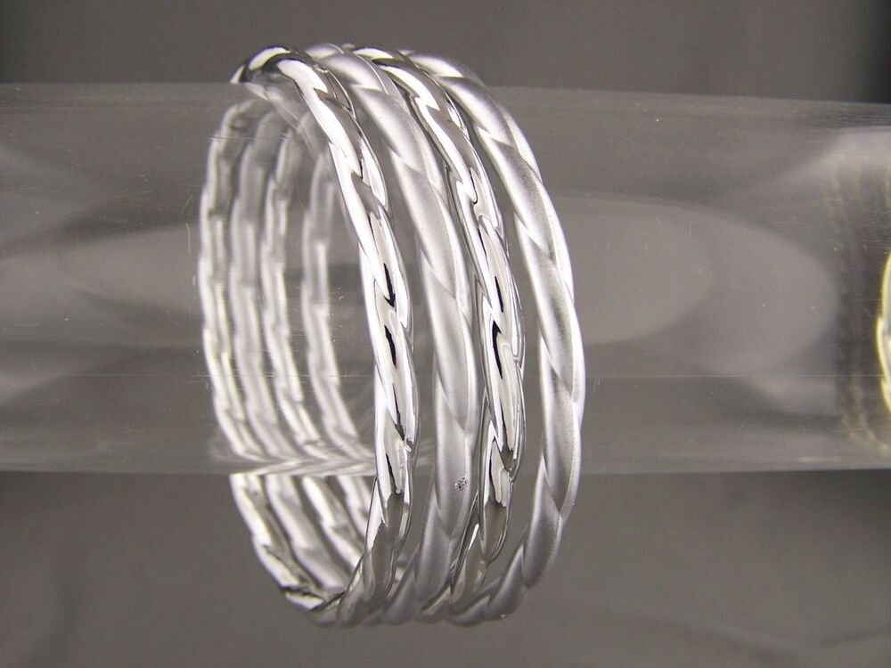 49d0aee5bc6 Details about Silver bangle bracelet matte shiny set pack 4 plastic twisted thin  skinny