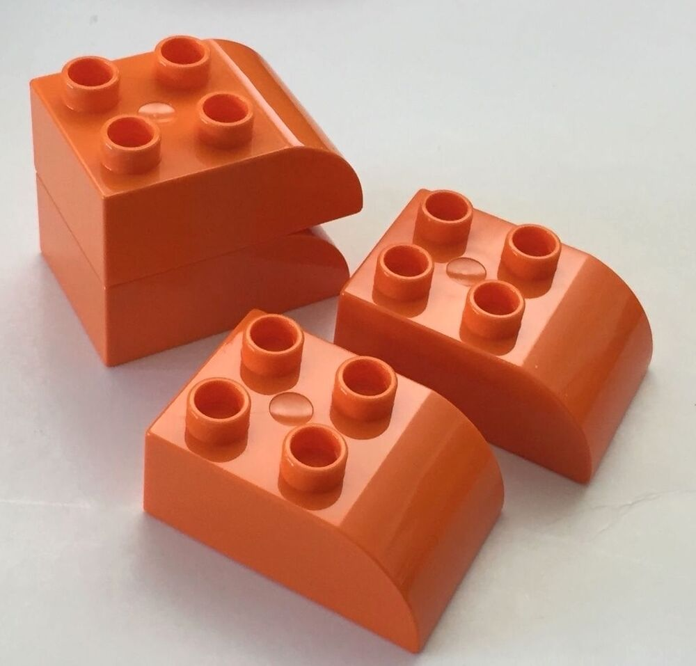 New 4 Pieces Lego Duplo Brick 2x3 With Curved Top Orange