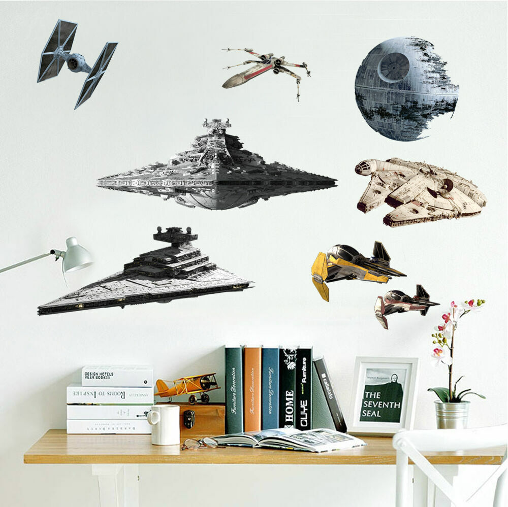 8 pcs star wars spacecraft destroyer death star wall for Death star wall mural