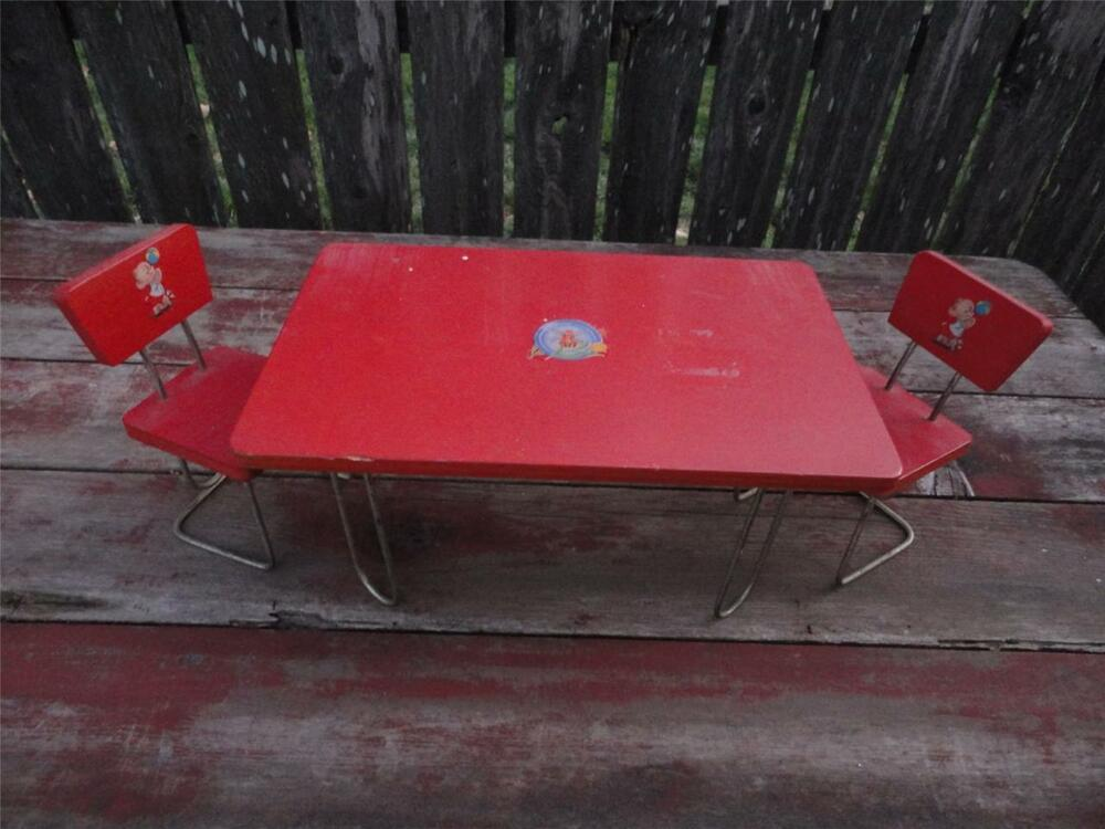 Antique c.1940's Red Wooden Doll Childs Table & Chairs ...