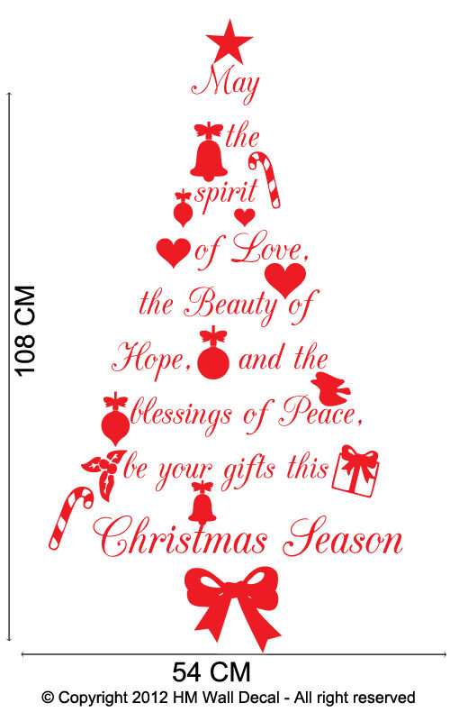 Christmas Tree With Wish Quote Wall Art Decal Great Gift