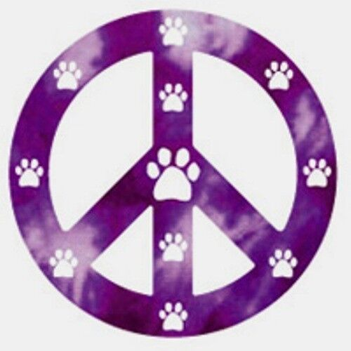 purple peace sign magnet with white paw prints ebay