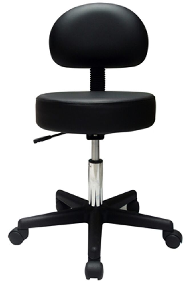 Adjustable Rolling Pnuematic Stool With Backrest Ebay