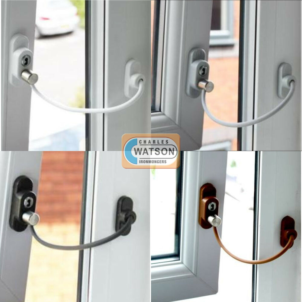 window door restrictor child home safety lockable flexible cable wire upvc wood ebay