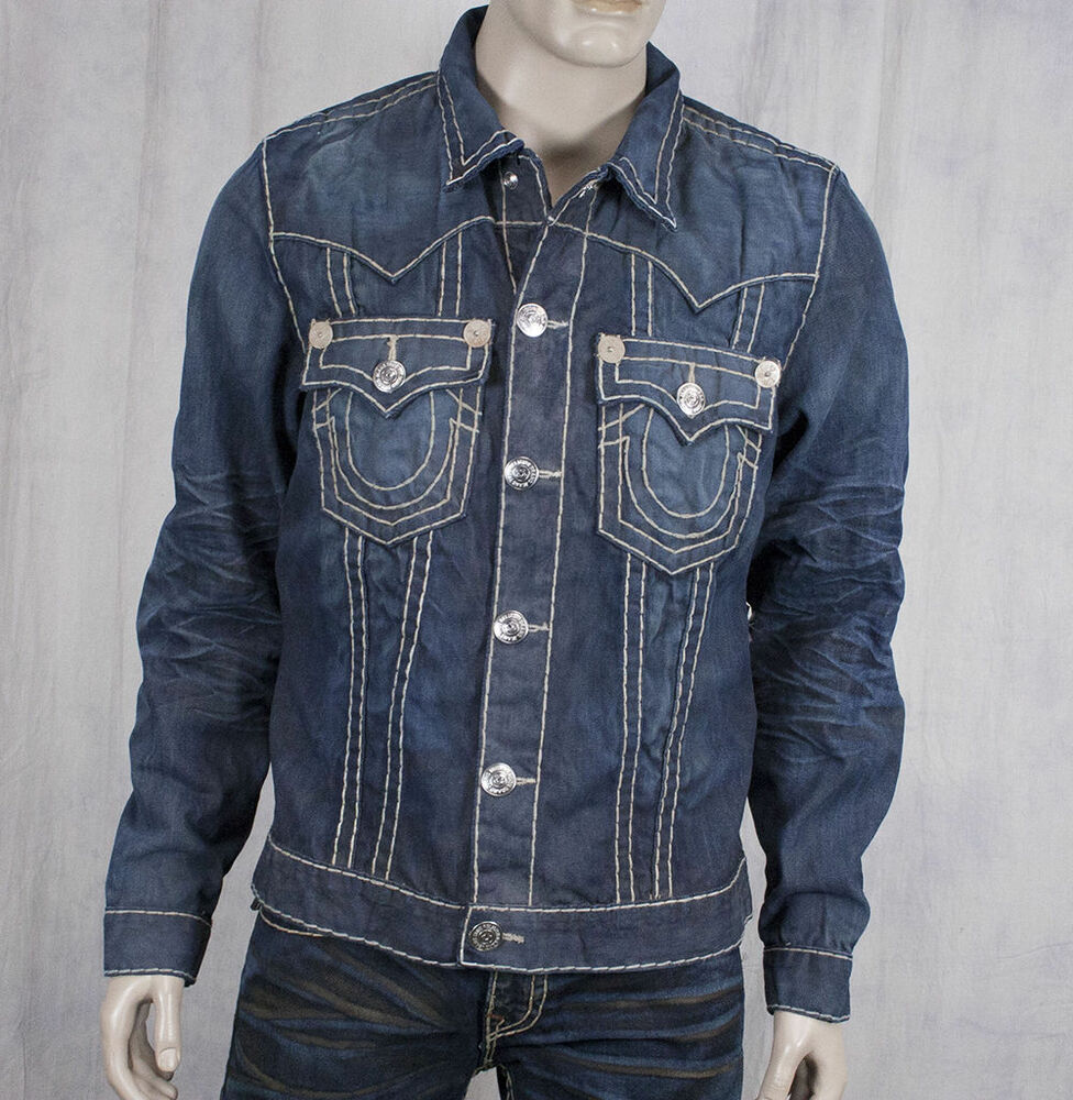 true religion jimmy super t jacket collateral wash distressed m24900u56 ebay. Black Bedroom Furniture Sets. Home Design Ideas
