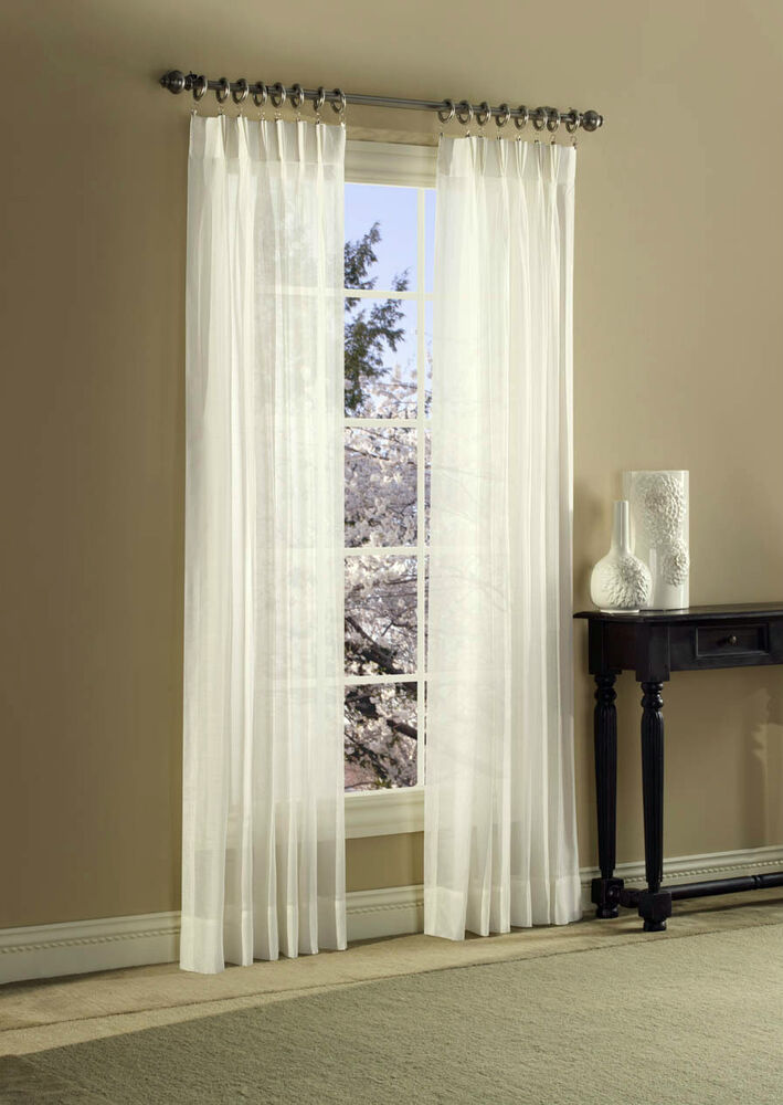 splendor batiste semi sheer pinch pleat curtain pair assorted sizes u0026 colors