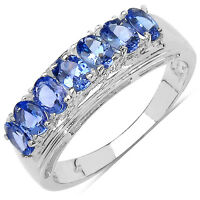 NEW STERLING SILVER GENUINE TANZANITE ETERNITY RING WITH PLATINUM OVERLAY
