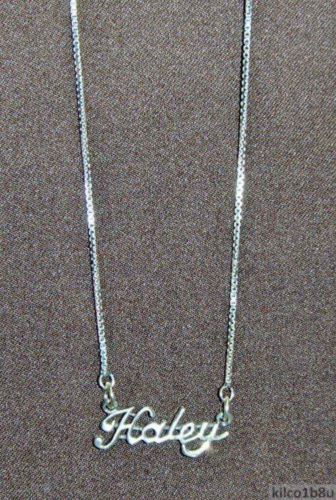 925 Sterling Silver Name Necklace - Name Plate - HALEY 17 ...