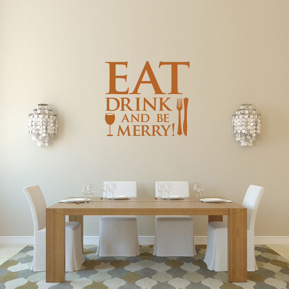 Eat drink and be merry wall sticker for kitchen and dining for Kitchen and dining room wall decor
