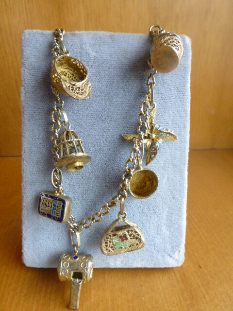 antique vintage chinese silver filigree 8 charm bracelet