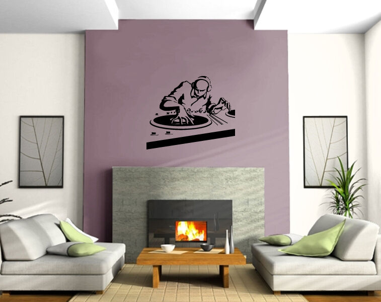 Club electro house music dj spinning wall decor mural for House music vinyl