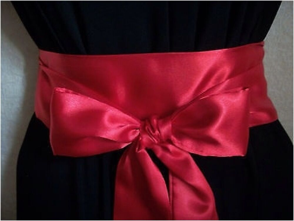 New 2 5 x100 red satin sash self tie bow wrap belt for for Satin belt for wedding dress