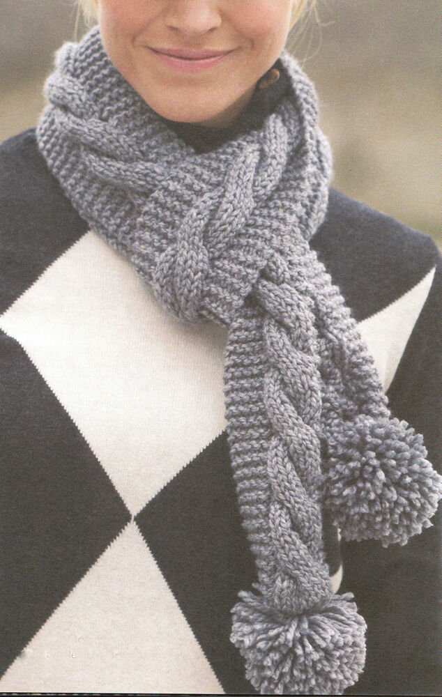 Knitting Patterns Ladies Scarf : Chunky Wool Ladies Cable Scarf with Pom Poms 4