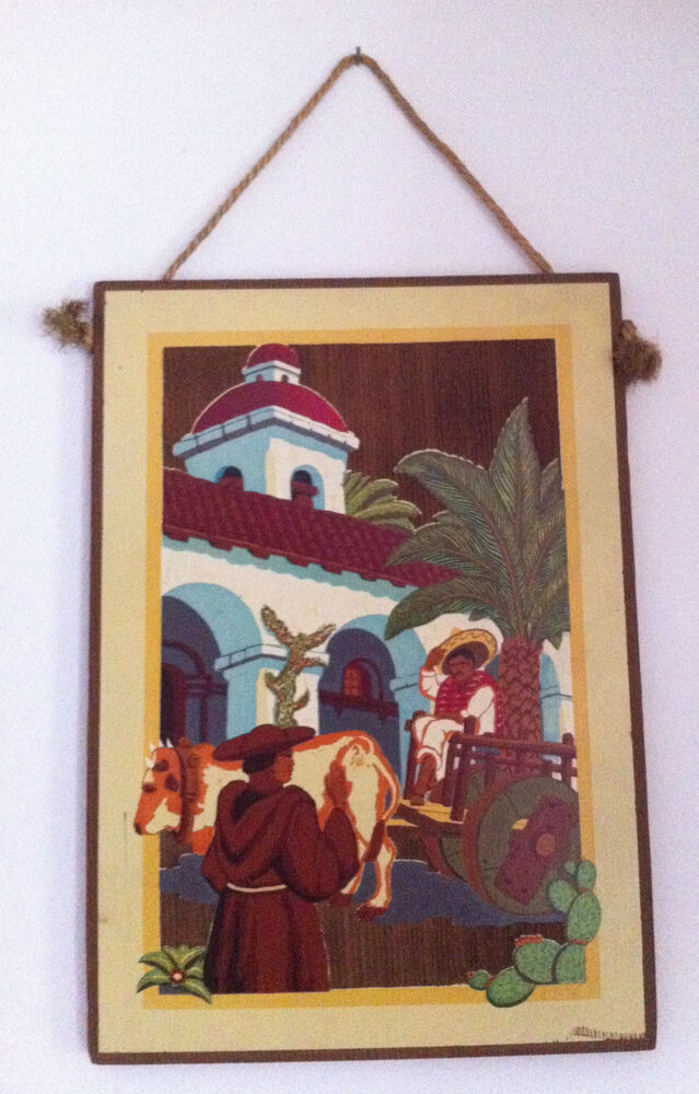 1930s 40s Vintage California Mexico Mission Wood Tile Wall