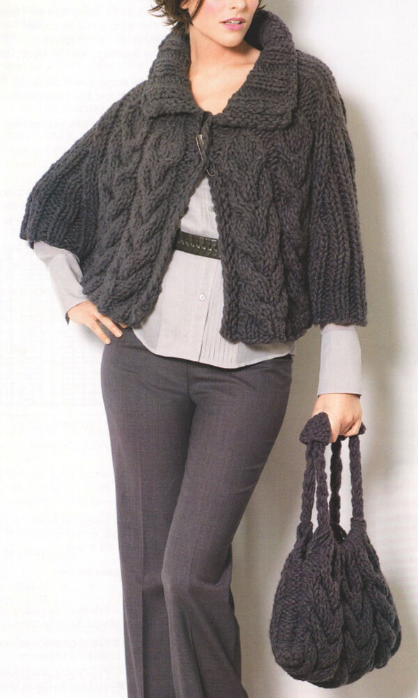Cable Cape Knitting Pattern : Cable Cape & Bag~ Easy & Quick in Bulky Yarn ~ Knitting Pattern~ One ...