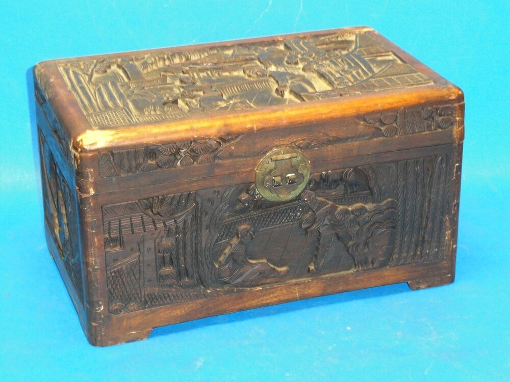 Mid century chinese high relief wood carving camphor chest