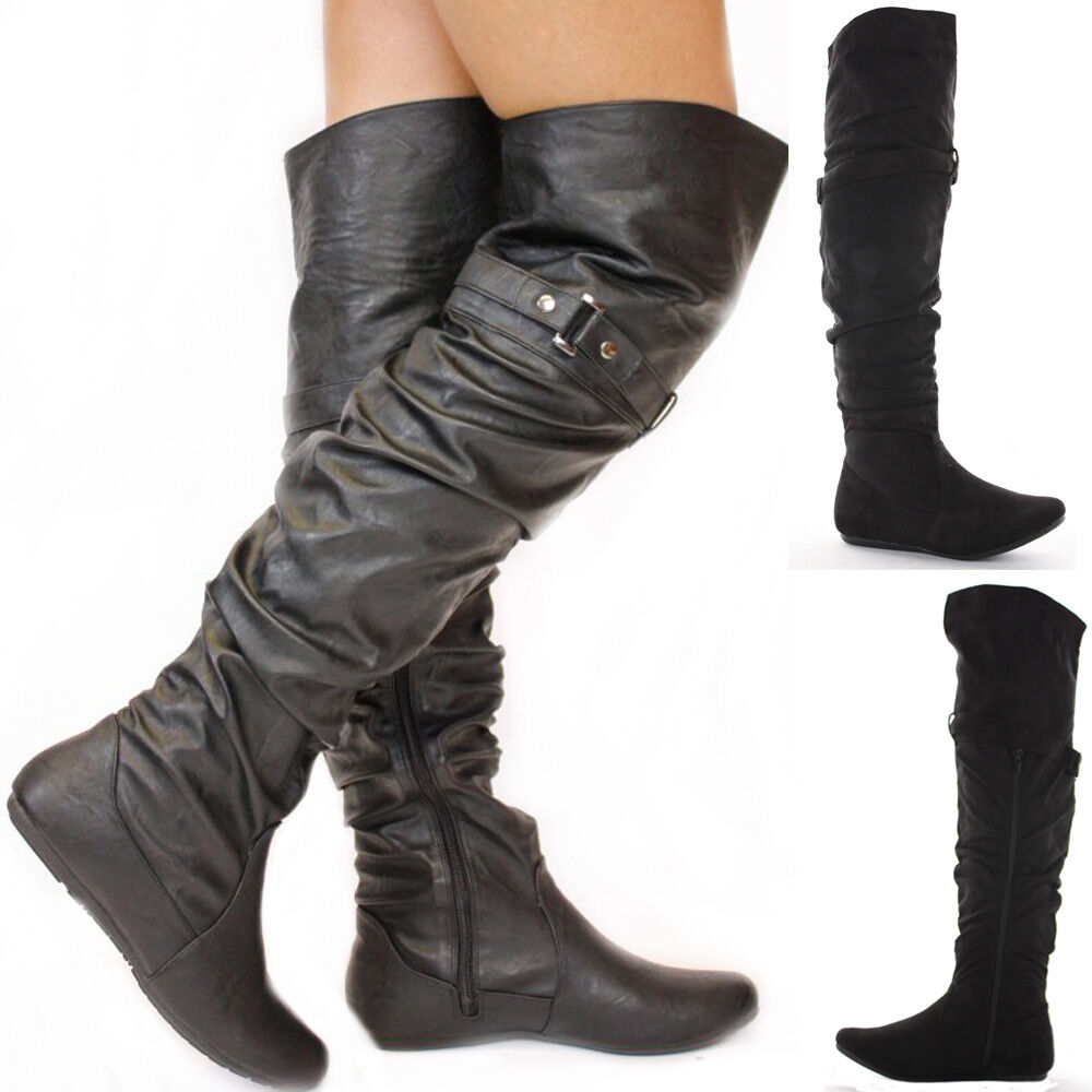 black flat winter walking style heel knee