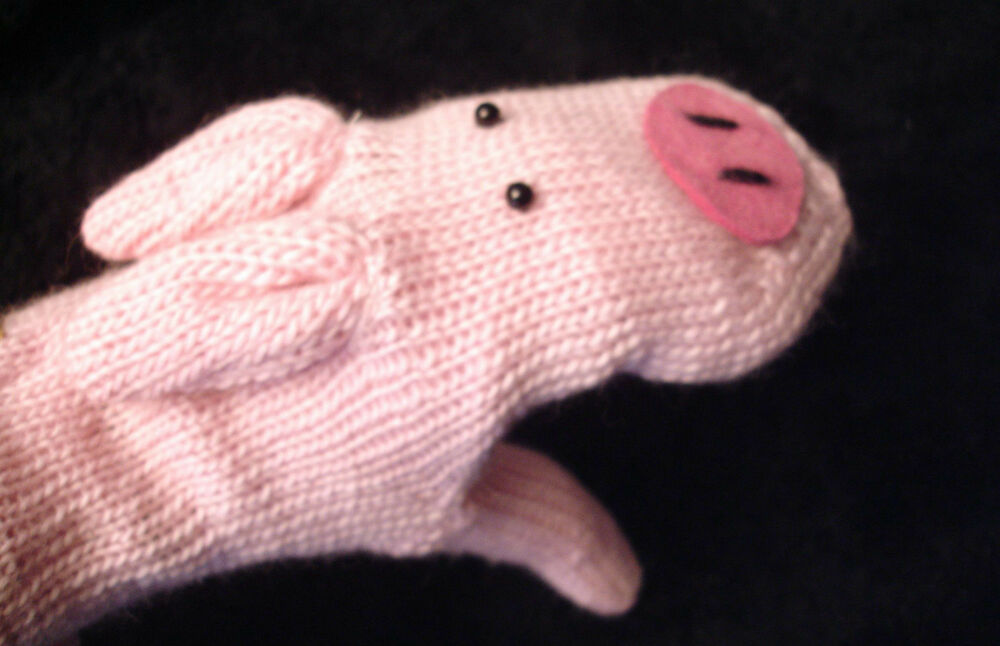 deLux PIG MITTENS puppet ADULT knit animal pigs hogs plain ...