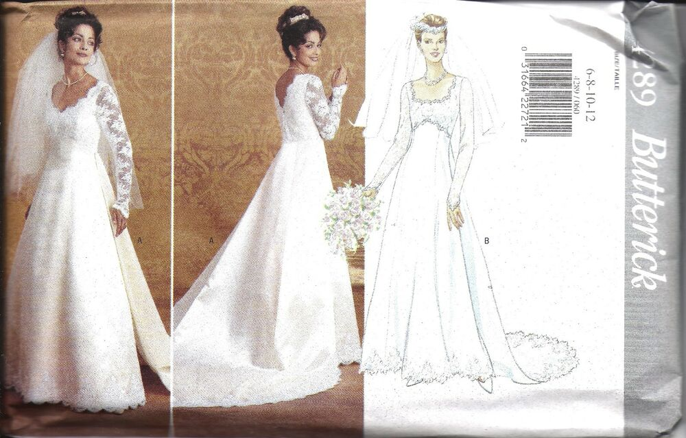 Uncut vintage butterick sewing pattern wedding bridal gown for Wedding dress patterns vintage