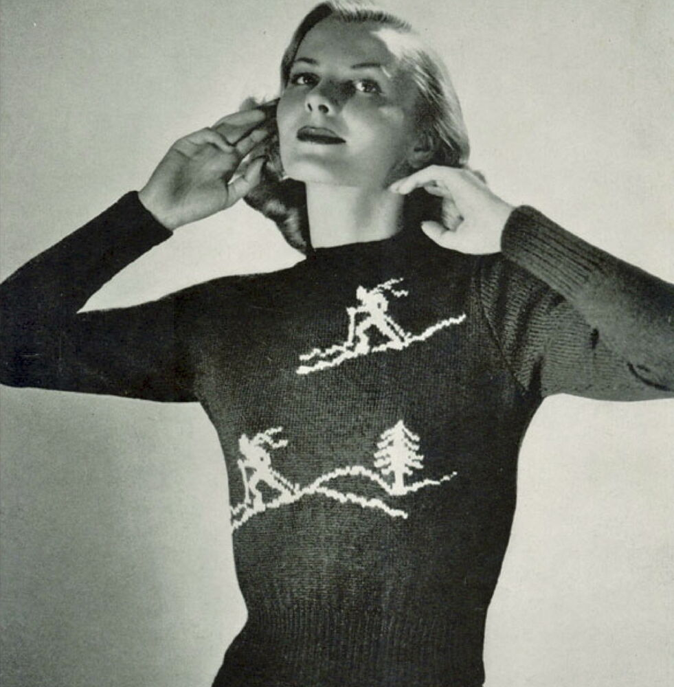 Vintage Christmas Jumper Knitting Pattern : Vintage knitting pattern-how to make a fun ladies christmas skiing jumper eBay