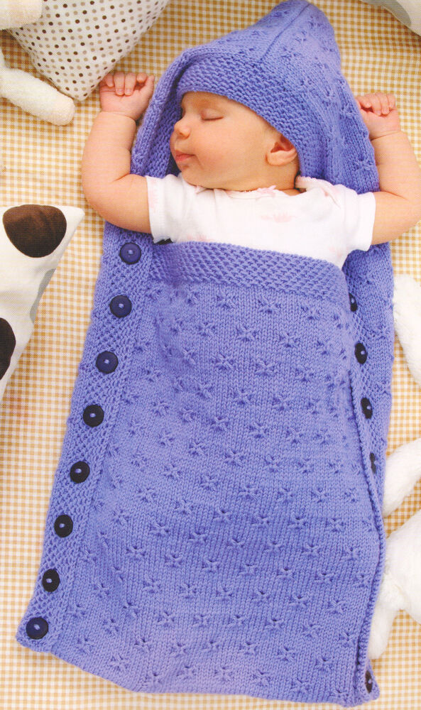Baby Knitting Patterns Sleeping Bag : Butterfly Stitch Baby Sleeping Bag & Hood ~ Button Sides 0~3 Mths DK To K...