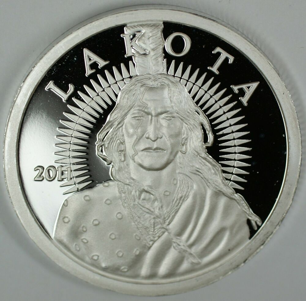 2011 Lakota 999 1oz Proof Silver Round Indian Crazy