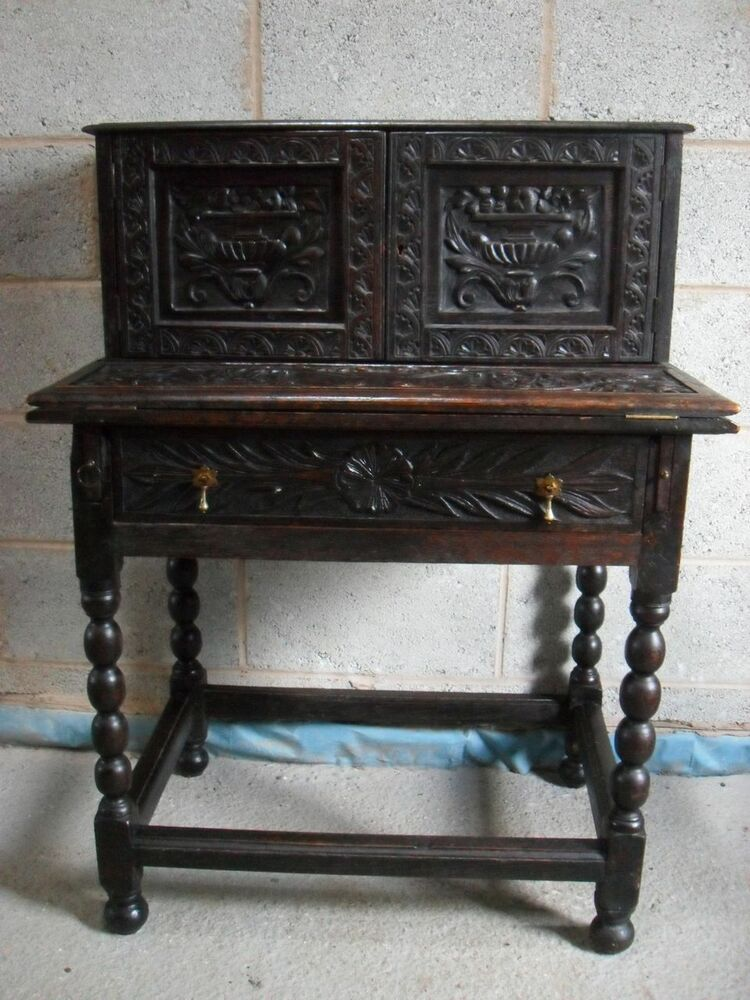 Late 18th 19th Century Carved Oak Fold Out Writing