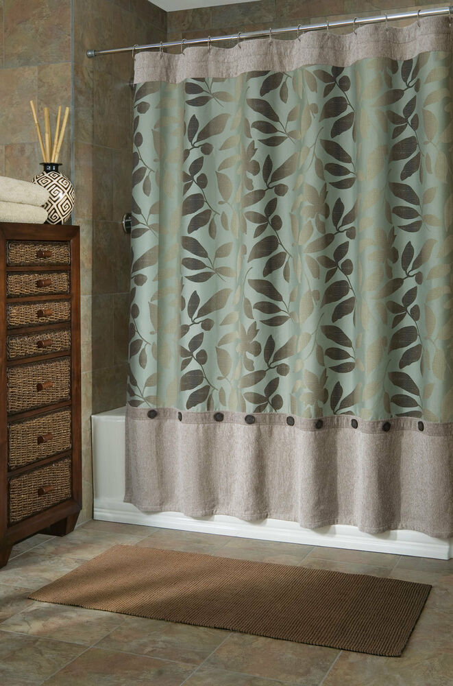B Smith Ombre Leaves Fabric Shower Curtain 72 X 75 Ex Long Heavy Thick Ebay