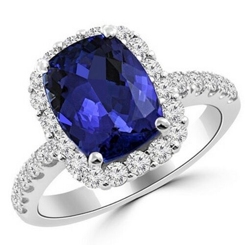 3.80ct CUSHION CUT TANZANITE & DIAMOND HALO ENGAGEMENT ...