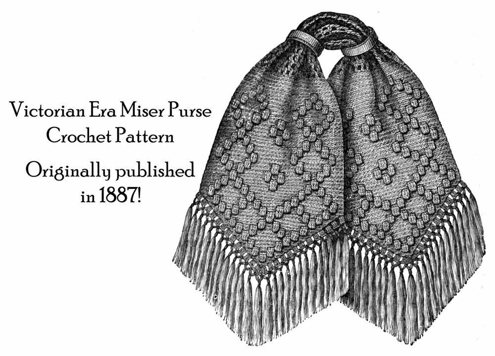Crochet Miser Bag Pattern : 1887 Victorian Miser Purse Crochet Pattern DIY Historical ...