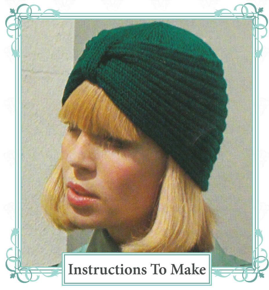 Details about Vintage  Knitting pattern -instructions how to make stylish  turban style hat f841f02d3c8