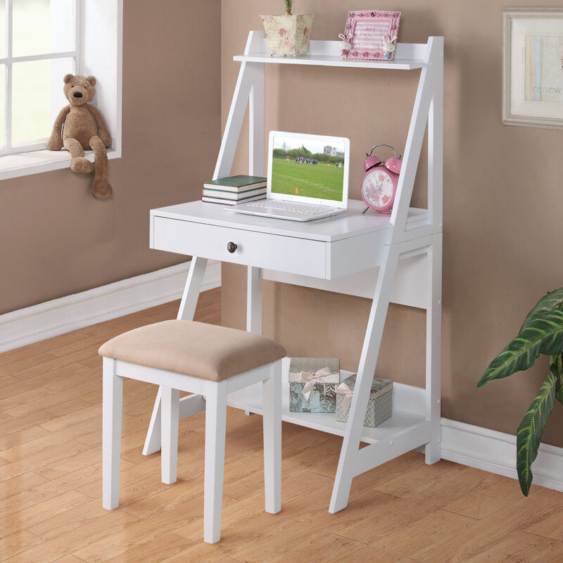 2 pc white student small writing desk and stool w large drawer storage shelves ebay. Black Bedroom Furniture Sets. Home Design Ideas