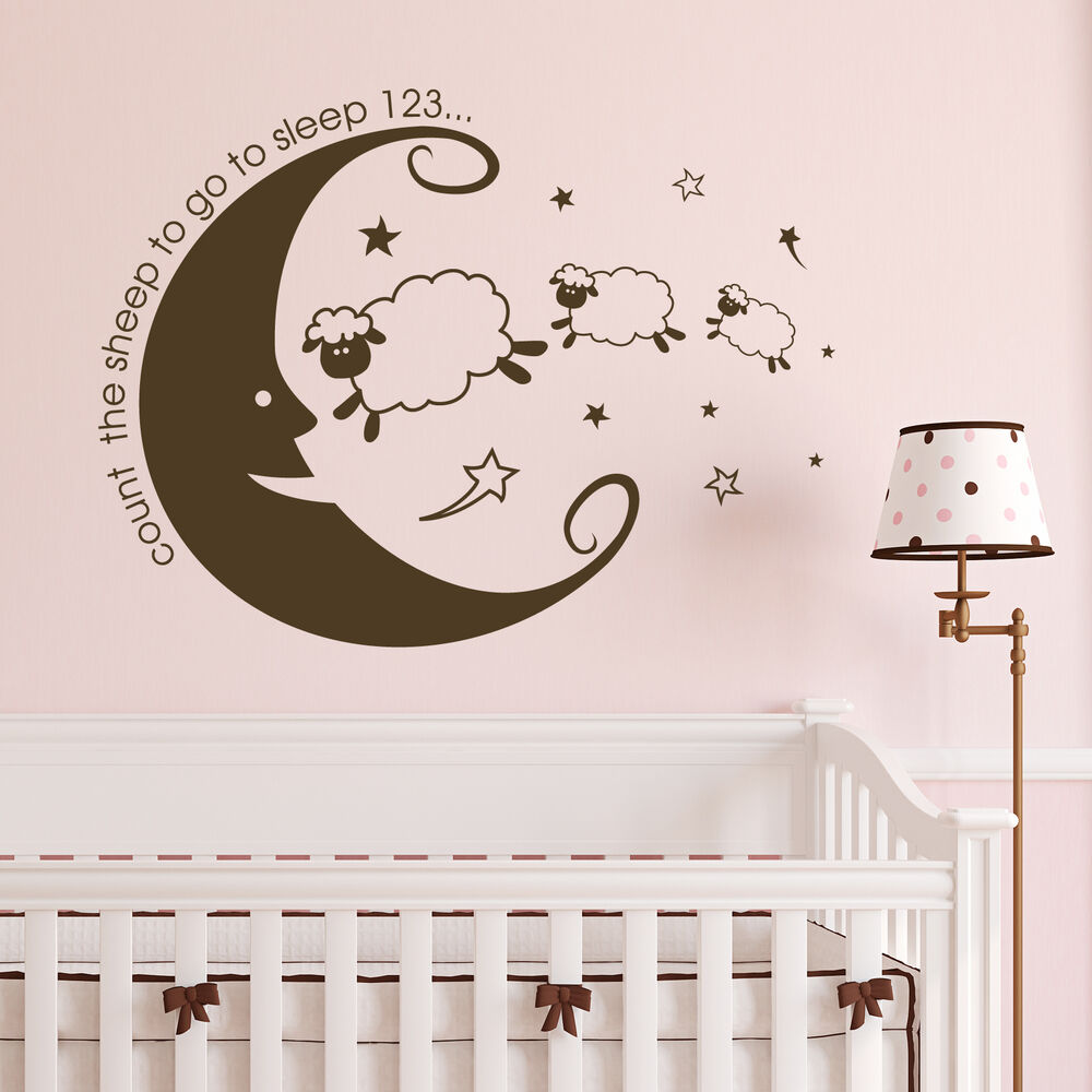 count the sheep bedroom wall sticker vinyl nursery white tree wall decals large tree nursery decoration
