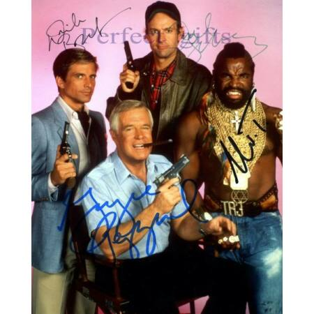 img-THE A TEAM X4 PEPPARD BENEDICT SCHULTZ MR T SIGNED 10X8 PP REPRO PHOTO PRINT