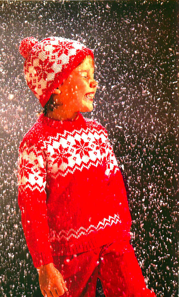 Snowflake Jumper Knitting Pattern : Vintage knitting pattern-christmas snowflake jumper,bobble hat-DK-free UKpost...
