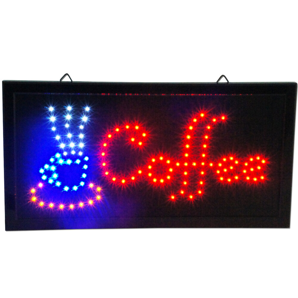 led cafe coffee shop sign espresso cappuccino open store bar neon on off switch ebay. Black Bedroom Furniture Sets. Home Design Ideas