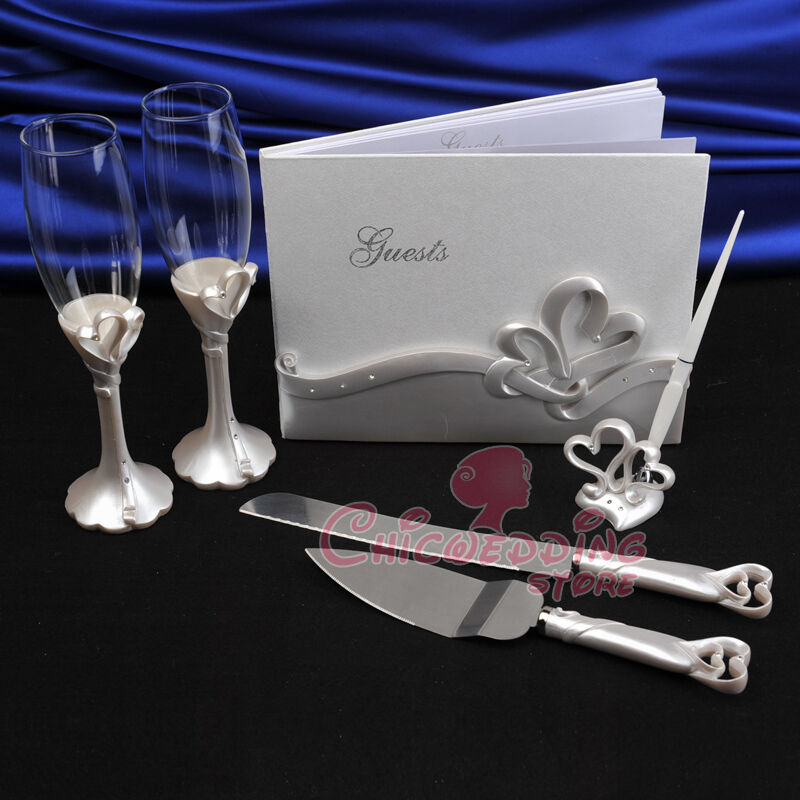 wedding cake cutters and flutes wedding guest book amp pen hearts toasting flutes 22313