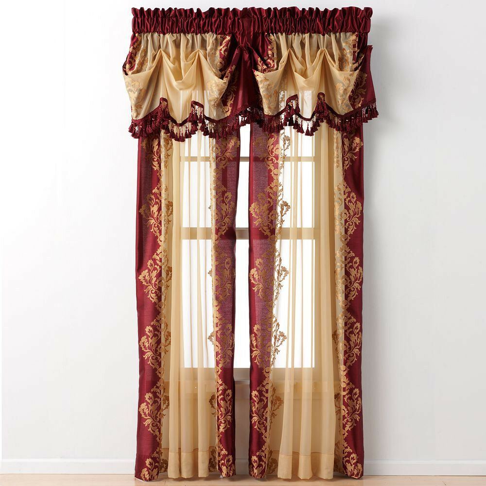Regal Home Danbury Embroidered Curtain Panels & Valances ...