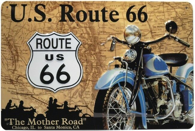 route 66 usa amerika motorrad bike gepr gt blechschild 20x30 cm metallschild 497 ebay. Black Bedroom Furniture Sets. Home Design Ideas