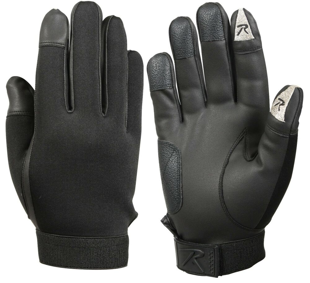Head Multi Sport Gloves With Sensatec Black Large: Rothco Touch Screen Neoprene Duty Gloves - Black