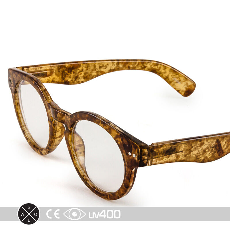 Clear Frame Glasses Vintage : Vintage Tan Swirl Thick Frame Round Clear Glasses ...