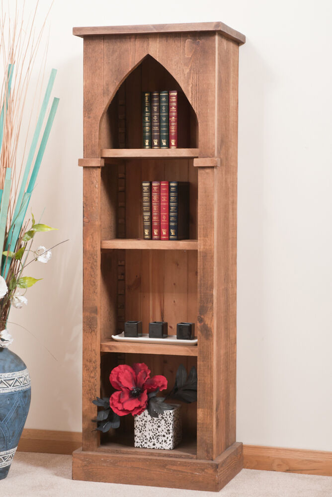 Solid Rustic Sawn Plank Gothic Bookcase Hand Waxed