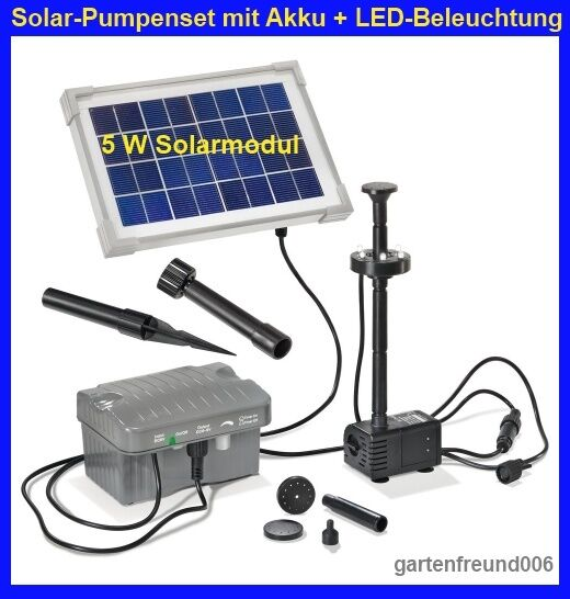 5 w led solarpumpe mit akku und beleuchtung solar teichpumpe gartenpumpe pumpe ebay. Black Bedroom Furniture Sets. Home Design Ideas